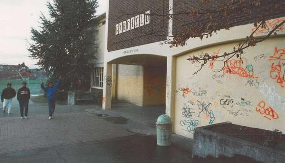 Garfield in 1986, when graffiti marred its buildings.  Photo: P-I File
