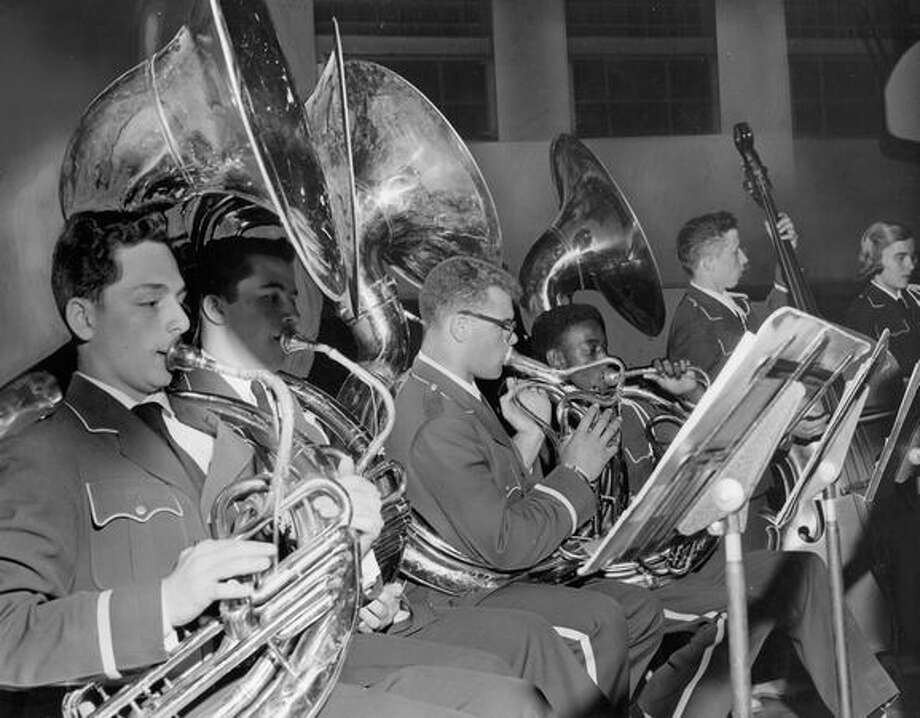"The May 1956 photo caption read: The ""oompah"" section of Garfield High School Band gives its all during the annual High School Band Concert at Nathan Eckstein Junior High School Wednesday night. Photo: P-I File"