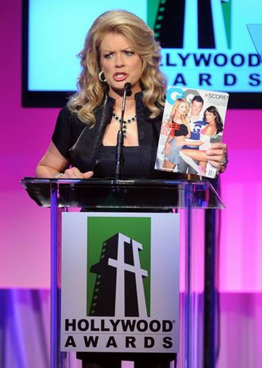 Host Mary Hart speaks onstage during the 14th annual Hollywood Awards Gala at The Beverly Hilton Hotel in Beverly Hills, California.