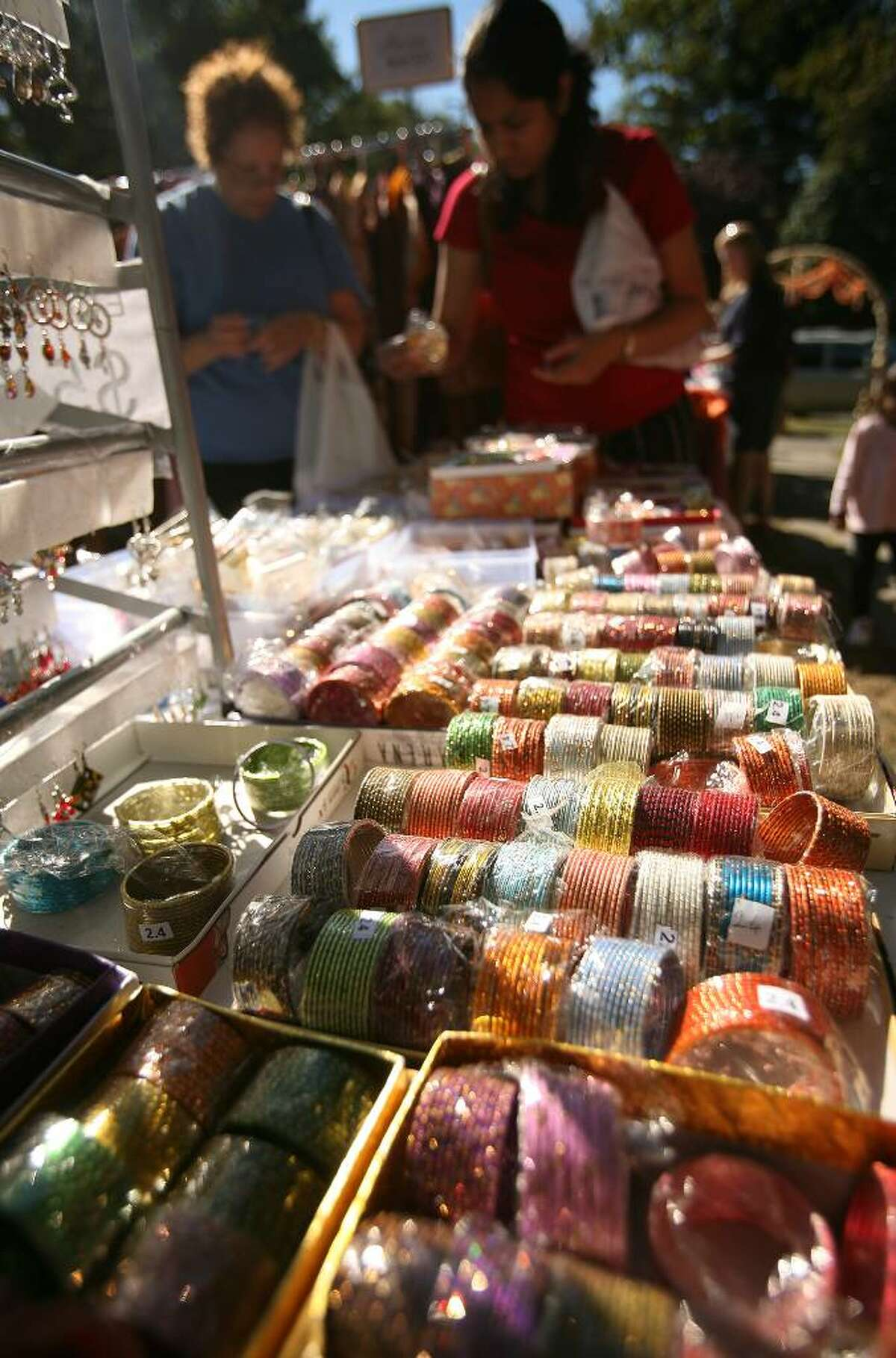 Colorful Indian bracelets for sale at the annual Heritage India Festival on the Fairfield Town Hall Green on Sunday, Septemer 20, 2009, in Fairfield, Conn.