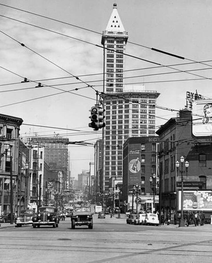 The original photo caption indicates this picture of the Smith Tower was taken June 27, 1945. Photo: P-I File / P-I File