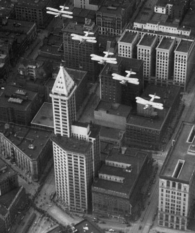 The original photo caption indicates this picture of the Smith Tower was taken April 7, 1935. Photo: P-I File / P-I File