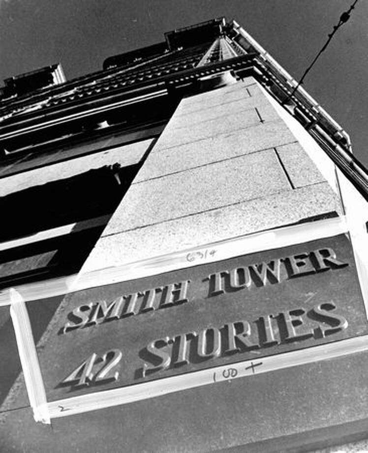 The Smith Tower plaque, Jan. 2, 1974. Photo: P-I File / P-I File