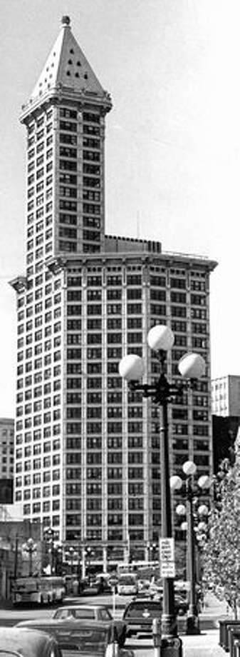 The Smith Tower after it was bought by Northwest legend Ivar Haglund, May 18, 1976. Photo: P-I File / P-I File