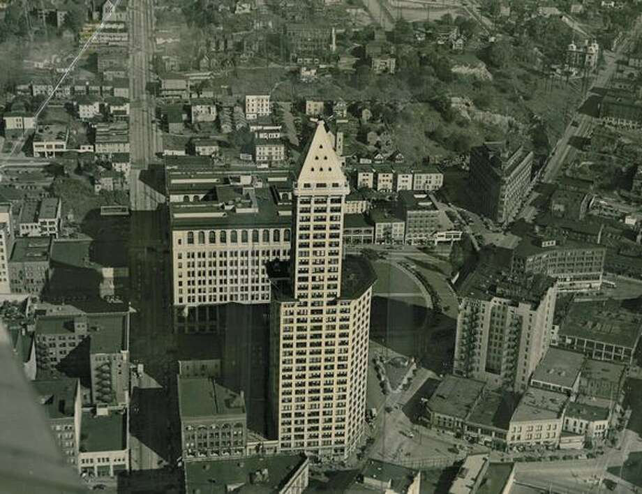 The original photo caption indicates this picture of the Smith Tower was taken July 4, 1914. Photo: P-I File / P-I File