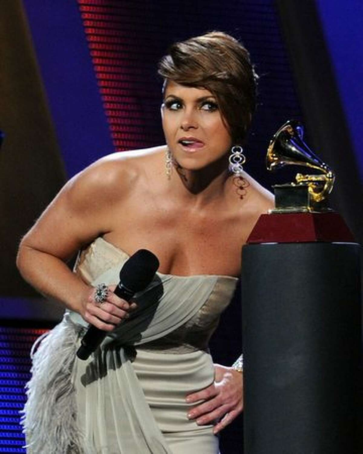 Host Lucero speaks onstage during the 11th annual Latin GRAMMY Awards at the Mandalay Bay Events Center in Las Vegas, Nevada.