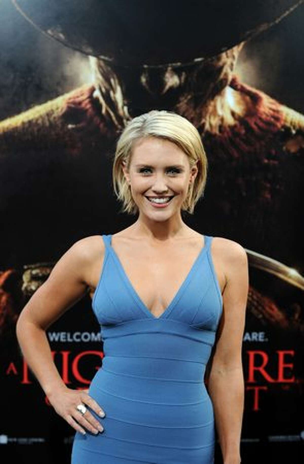 """Australian actress Nicky Whelan arrives at the World premiere of """"A Nightmare on Elm Street"""" in Hollywood, California, on April 27. Photo credit GABRIEL BOUYS/AFP/Getty Images"""