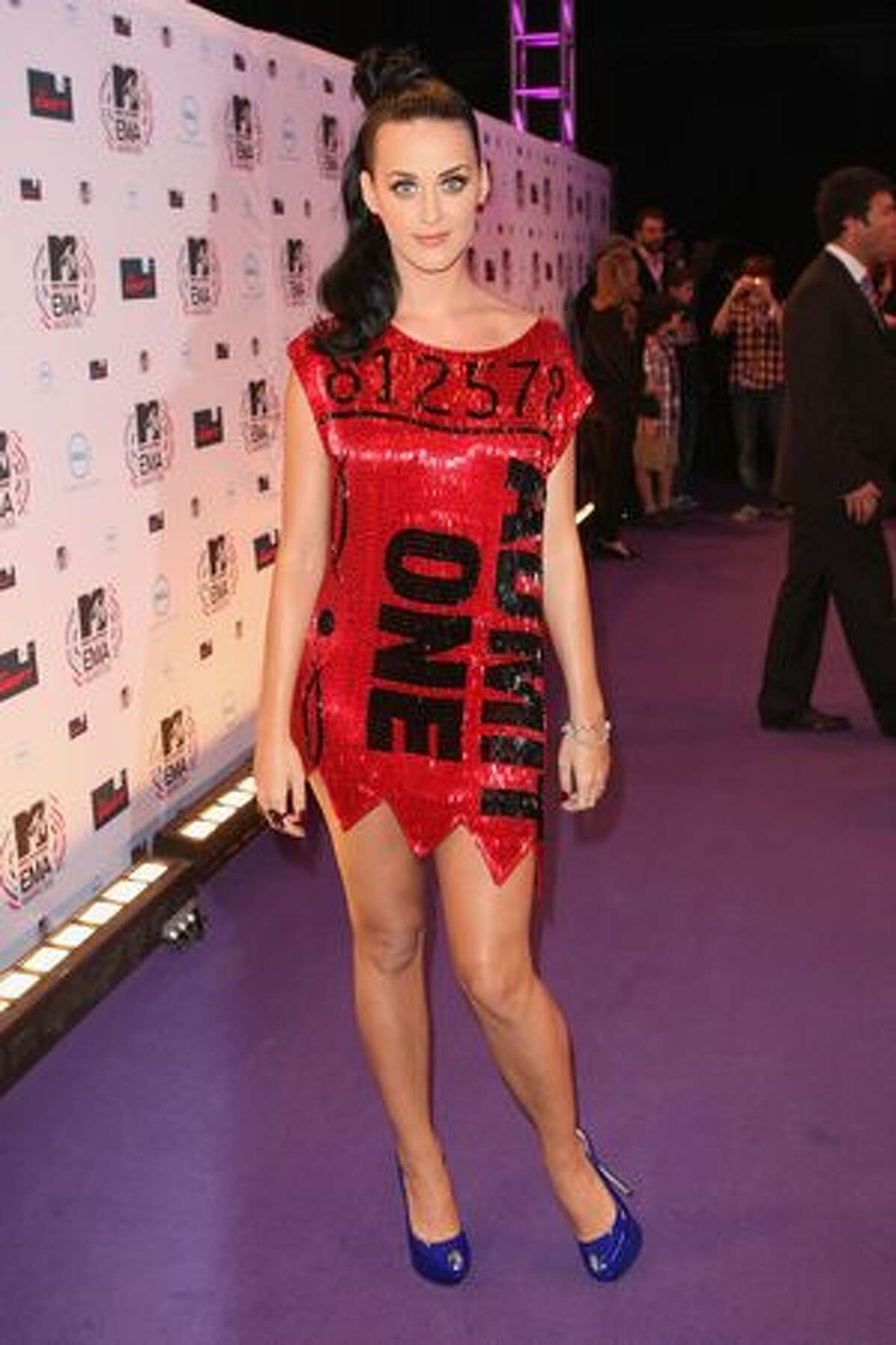 Katy Perry arrives at the MTV Europe Awards 2010 at the La Caja Magica in Madrid, Spain, on Sunday, Nov. 7, 2010.