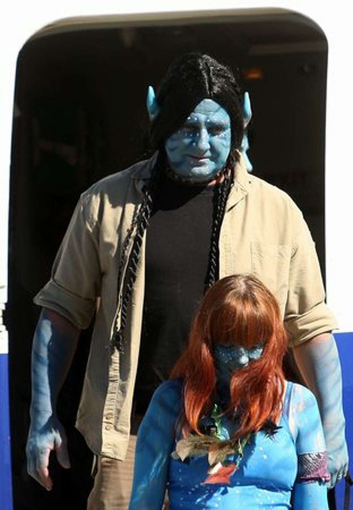 Competition winners dressed up as characters from the film
