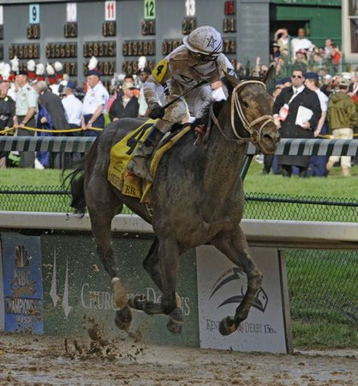 Jockey Calvin Borel wins his third Kentucky Derby in the last four years on Super Saver at Churchill Downs in Louisville, Kentucky May 1, 2010. (Skip Dickstein / Times Union)