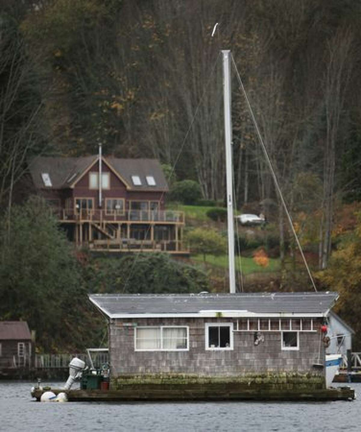 A house barge floats on Bainbridge Island's Eagle Harbor on Wednesday.