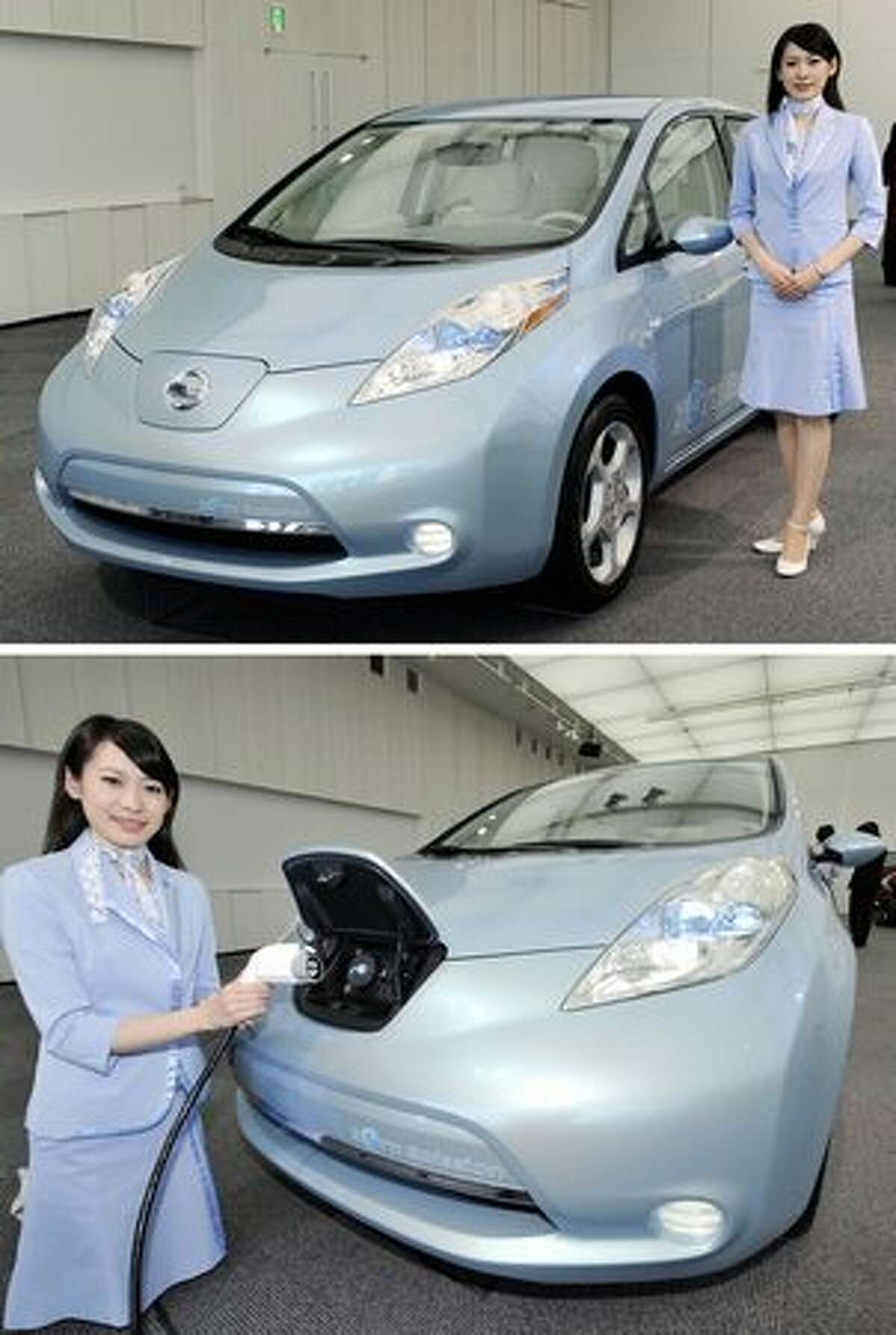 A combo picture shows an employee of Japan's auto giant Nissan posing with their new electric vehicle, the