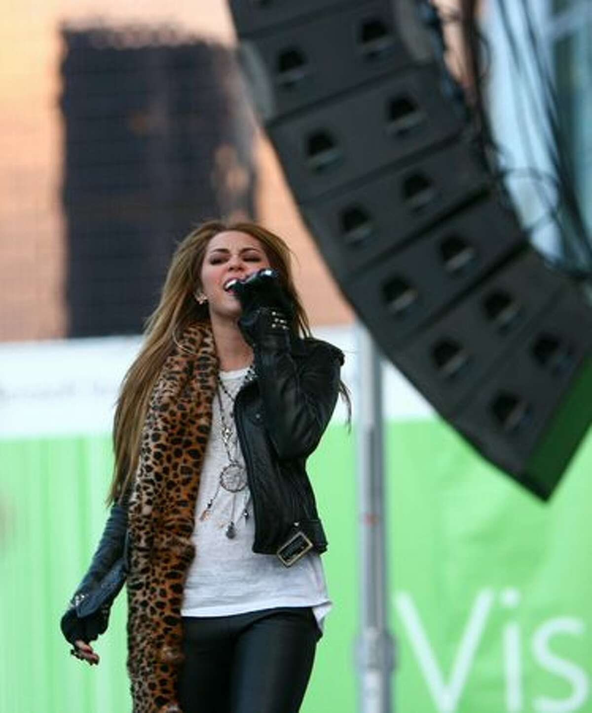 Pop singer and actress Miley Cyrus performs in front of thousands of fans in downtown Bellevue.