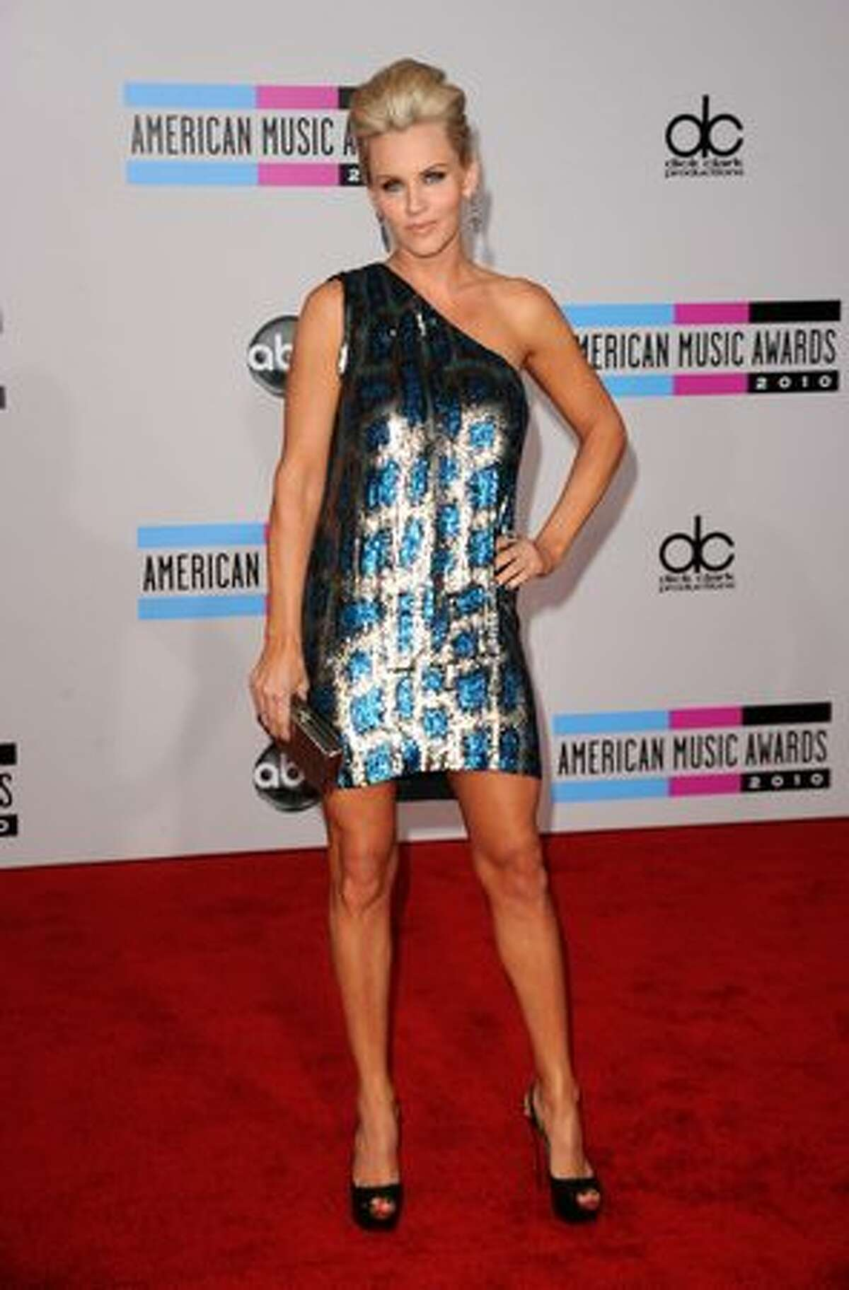 Actress/comedian Jenny McCarthy arrives at the 2010 American Music Awards held at Nokia Theatre L.A. Live in Los Angeles.