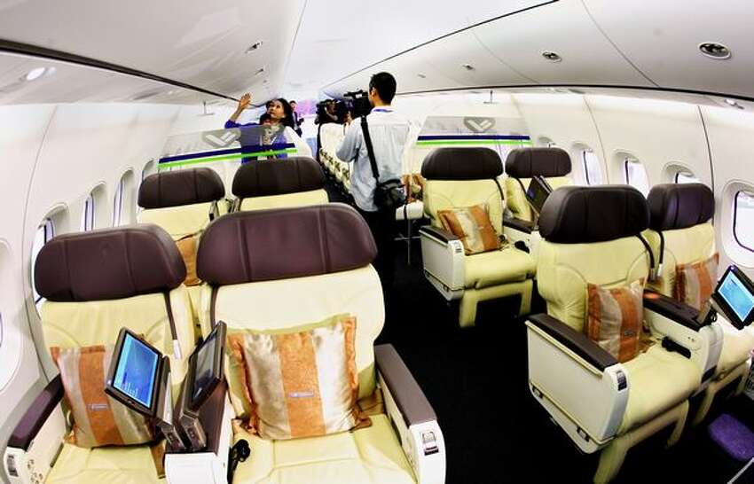 An interior view of the C919 mock-up is seen at China International Aviation and Aerospace Exhibition (also known as Airshow China and Zhuhai Airshow) in Zhuhai, China.