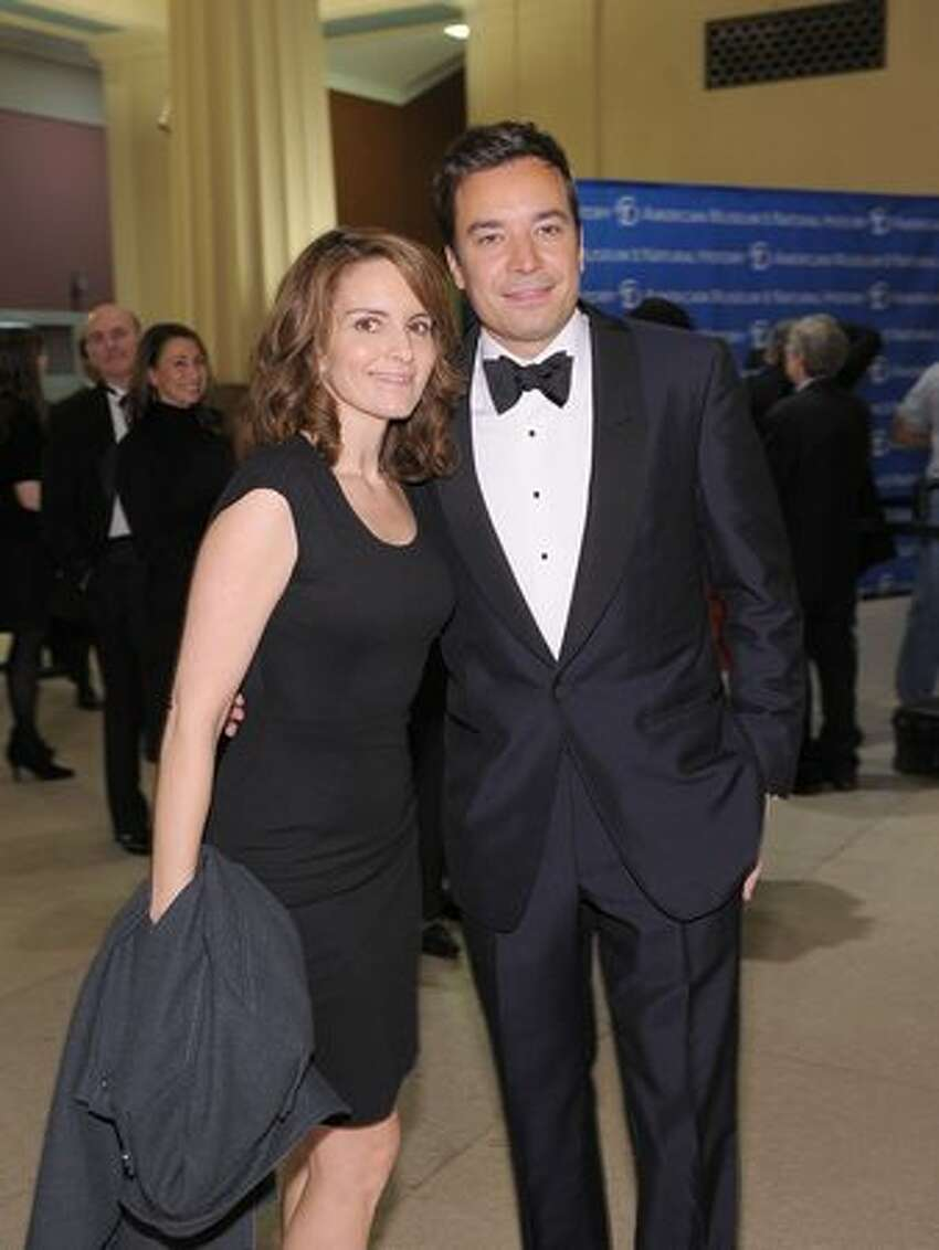 Actors and comedians Tina Fey and Jimmy Fallon attend the American Museum of Natural History's 2010 Museum Gala at the American Museum of Natural History in New York City.