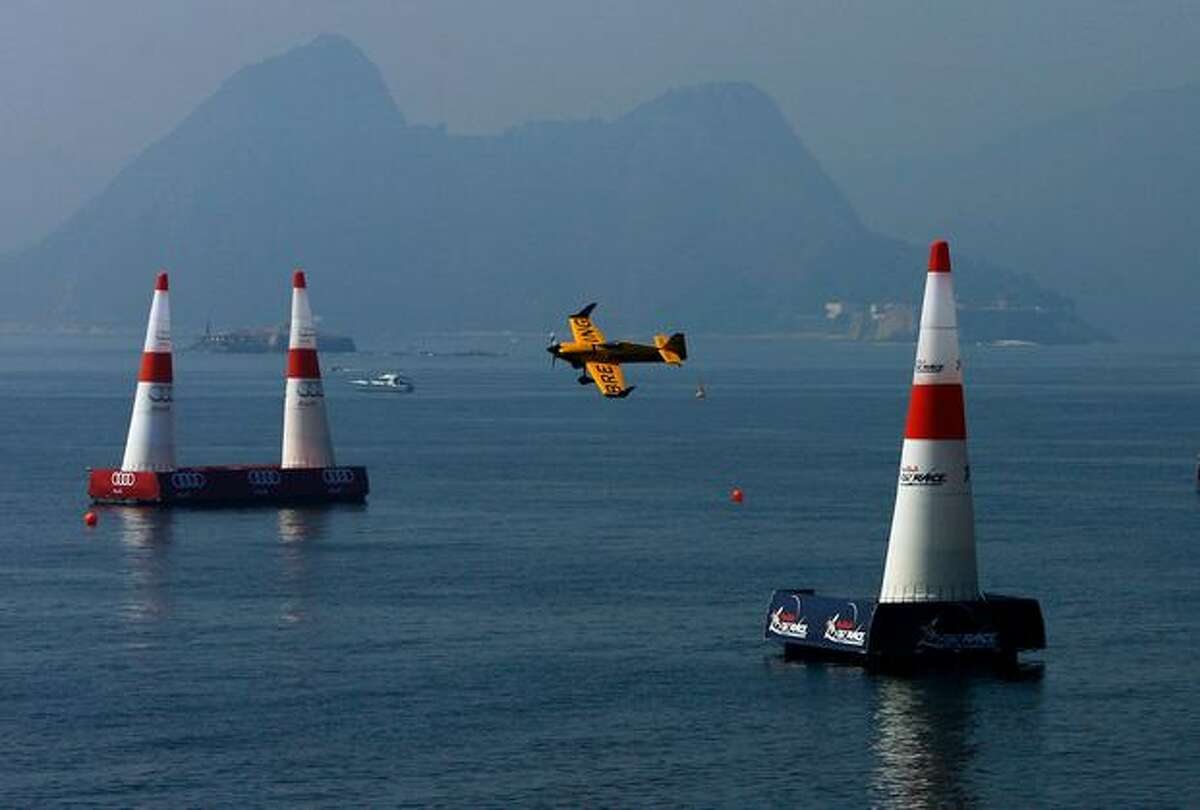 Nigel Lamb of Great Britain in action during the Red Bull Air Race Training Day in Rio de Janeiro, Brazil.
