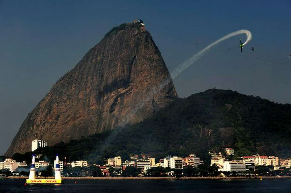 Michael Goulian of USA in action during the Red Bull Air Race Training Day in Rio de Janeiro, Brazil.