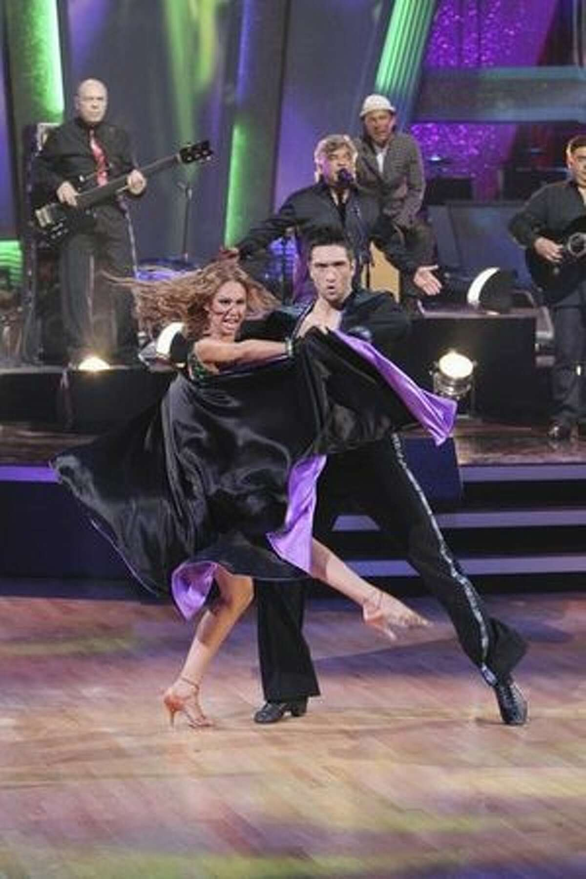 Pros Dmitry Chaplin and Kym Johnson dance to the Gipsy Kings.