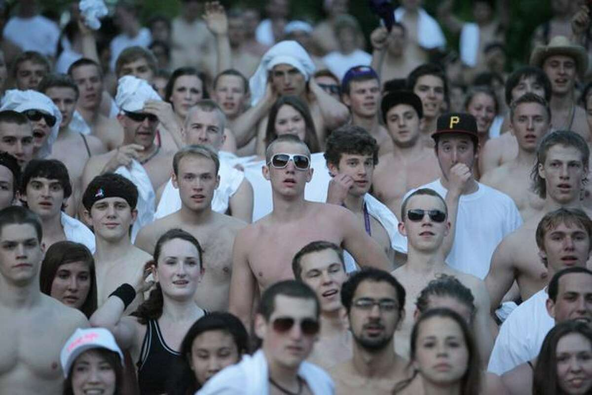 University of Washington students gather after running in the
