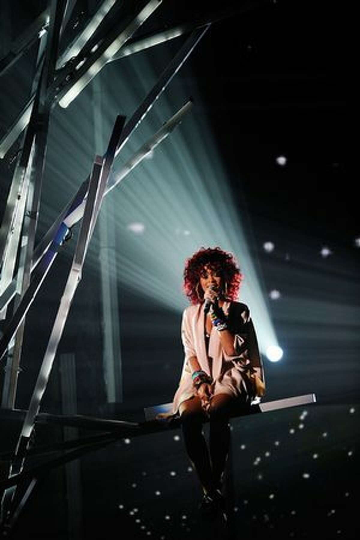 Singer Rihanna performs onstage during the 2010 American Music Awards held at Nokia Theatre L.A. Live in Los Angeles.