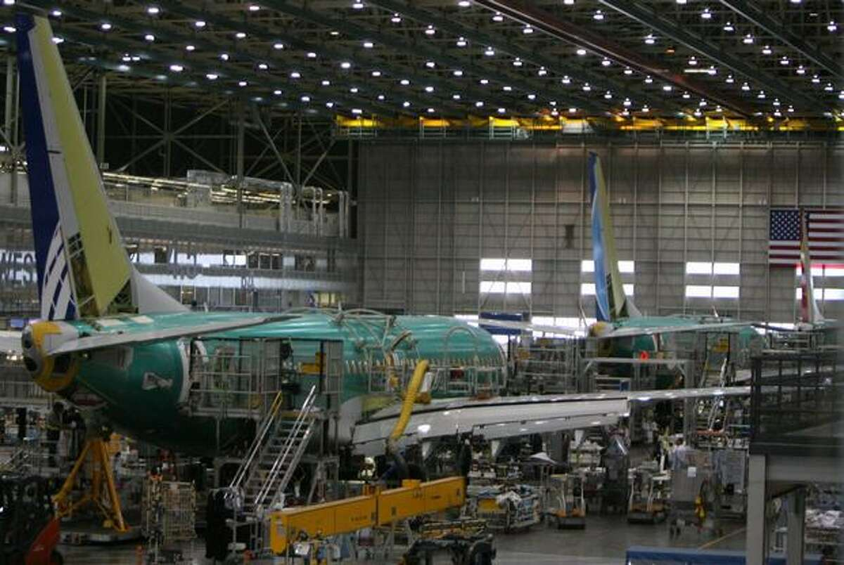 Boeing 737 assembly seen at the company's plant in Renton, Wash.