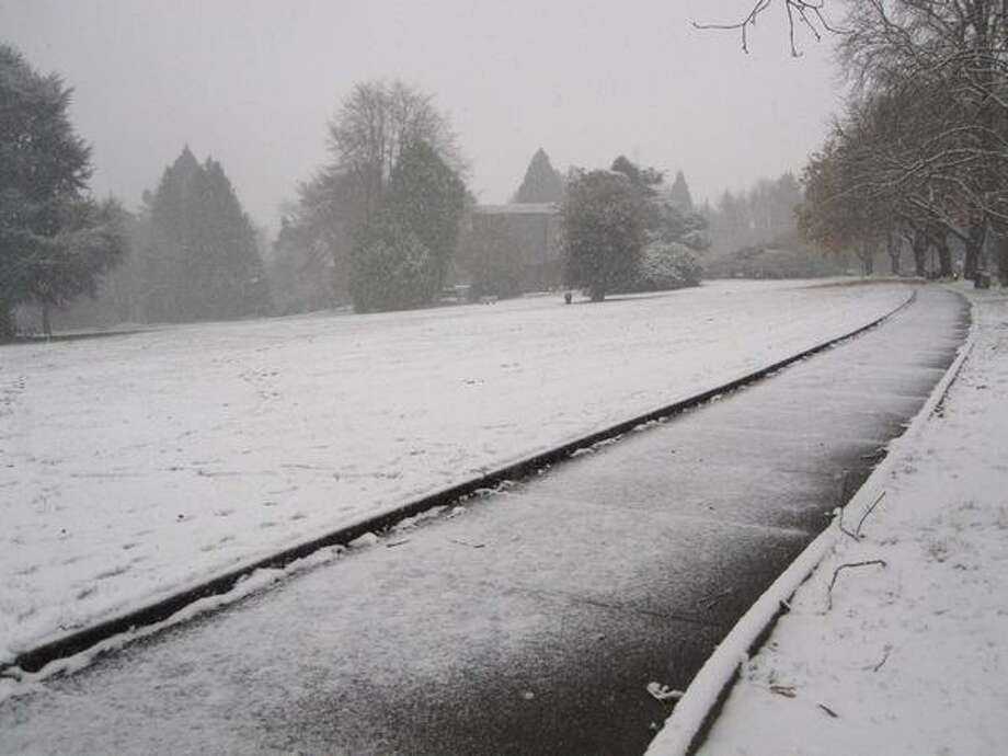 The first snow of the season at Volunteer Park in Capitol Hill on Monday. Photo: Vanessa Ho, Seattlepi.com