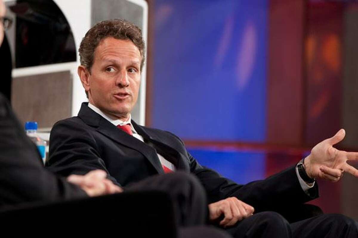 U.S. Treasury Secretary Timothy Geithner talks on stage at the Microsoft CEO Summit 2010 on Wednesday, May 19, in Redmond.