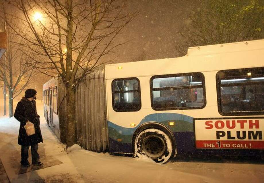 A passerby looks at an articulated Sound Transit bus that hit a tree in the University District. Photo: Joshua Trujillo, Seattlepi.com