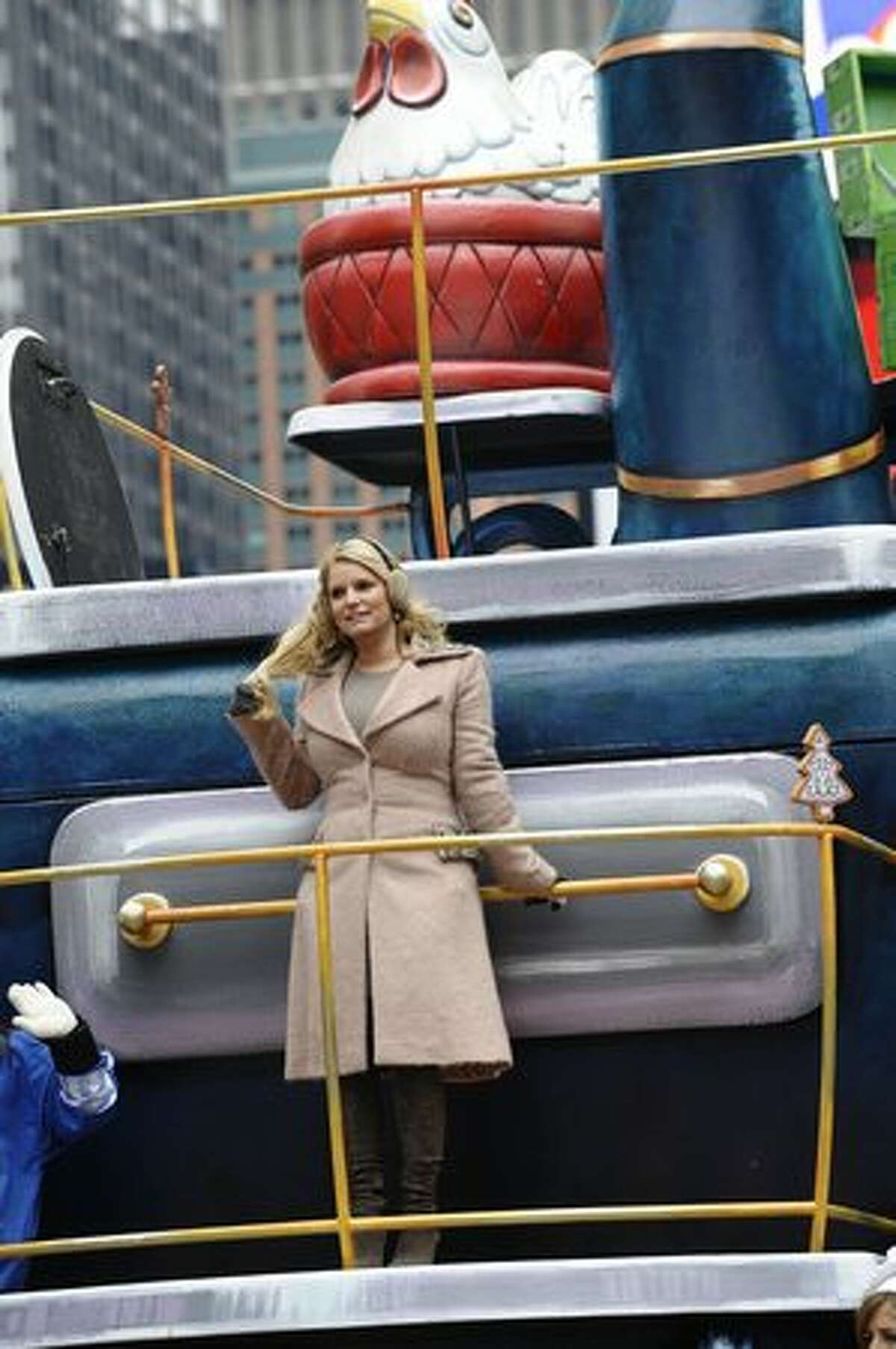 Jessica Simpson rides down 7th Ave in Times Square during the 84th annual Macy's Thanksgiving Day Parade in New York. AFP PHOTO / TIMOTHY A. CLARY (TIMOTHY A. CLARY/AFP/Getty Images)