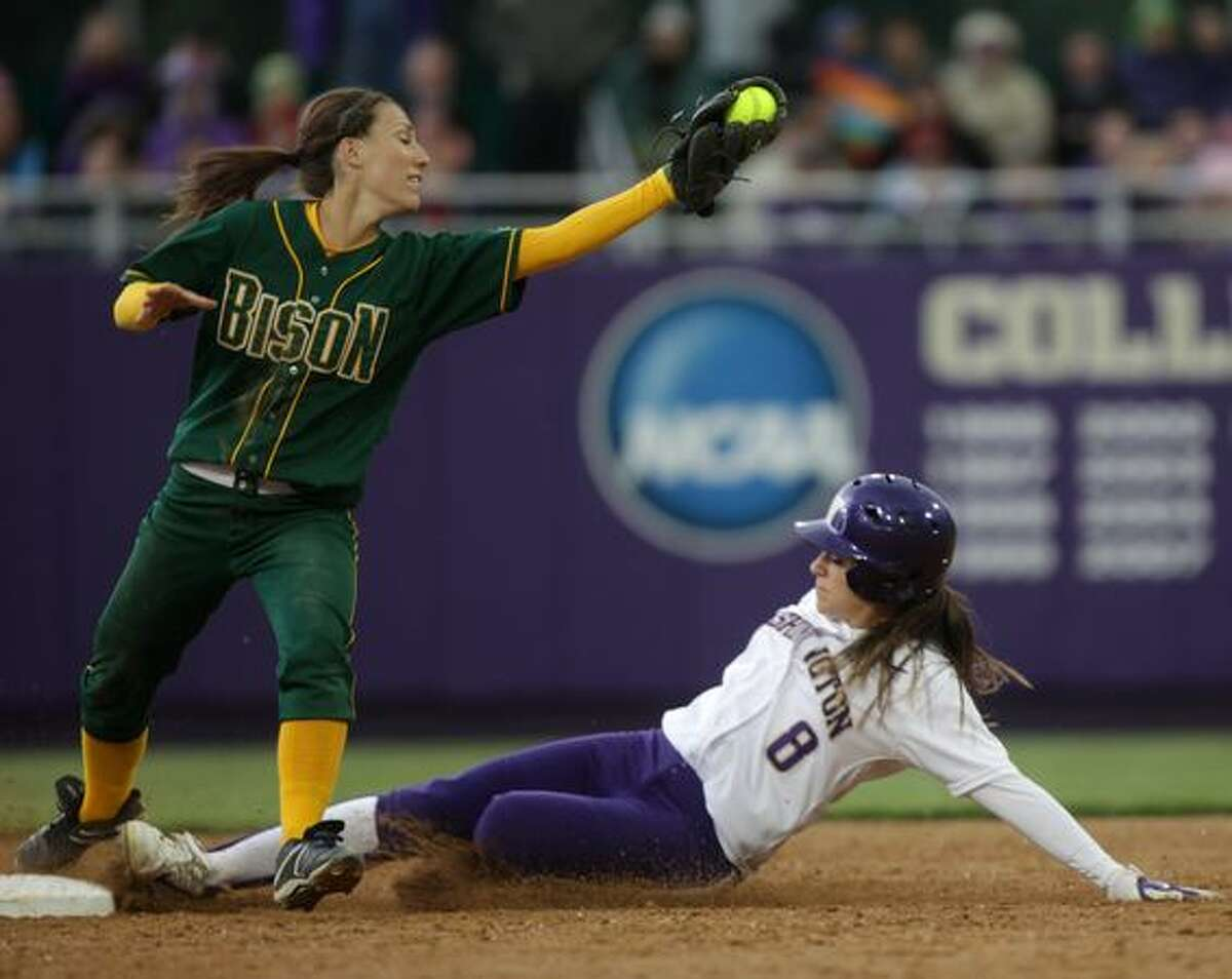 University of Washington player Maggie Wagner is force out at second by North Dakota State University player Pipkin, Laurel during the first round of the 2010 NCAA tournament on Friday May 21, 2010 at the University of Washington.