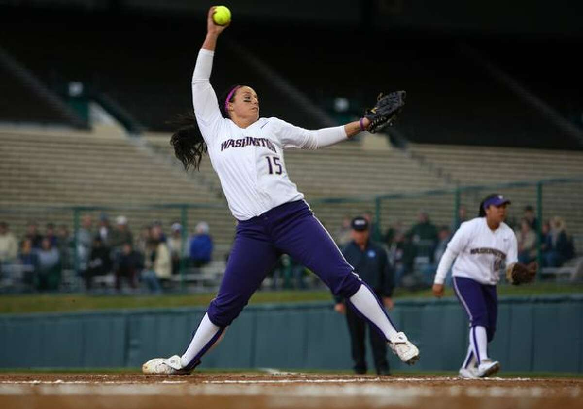 University of Washington pitcher Danielle Lawrie throws against North Dakota State University during the first round of the 2010 NCAA tournament on Friday May 21, 2010 at the University of Washington...
