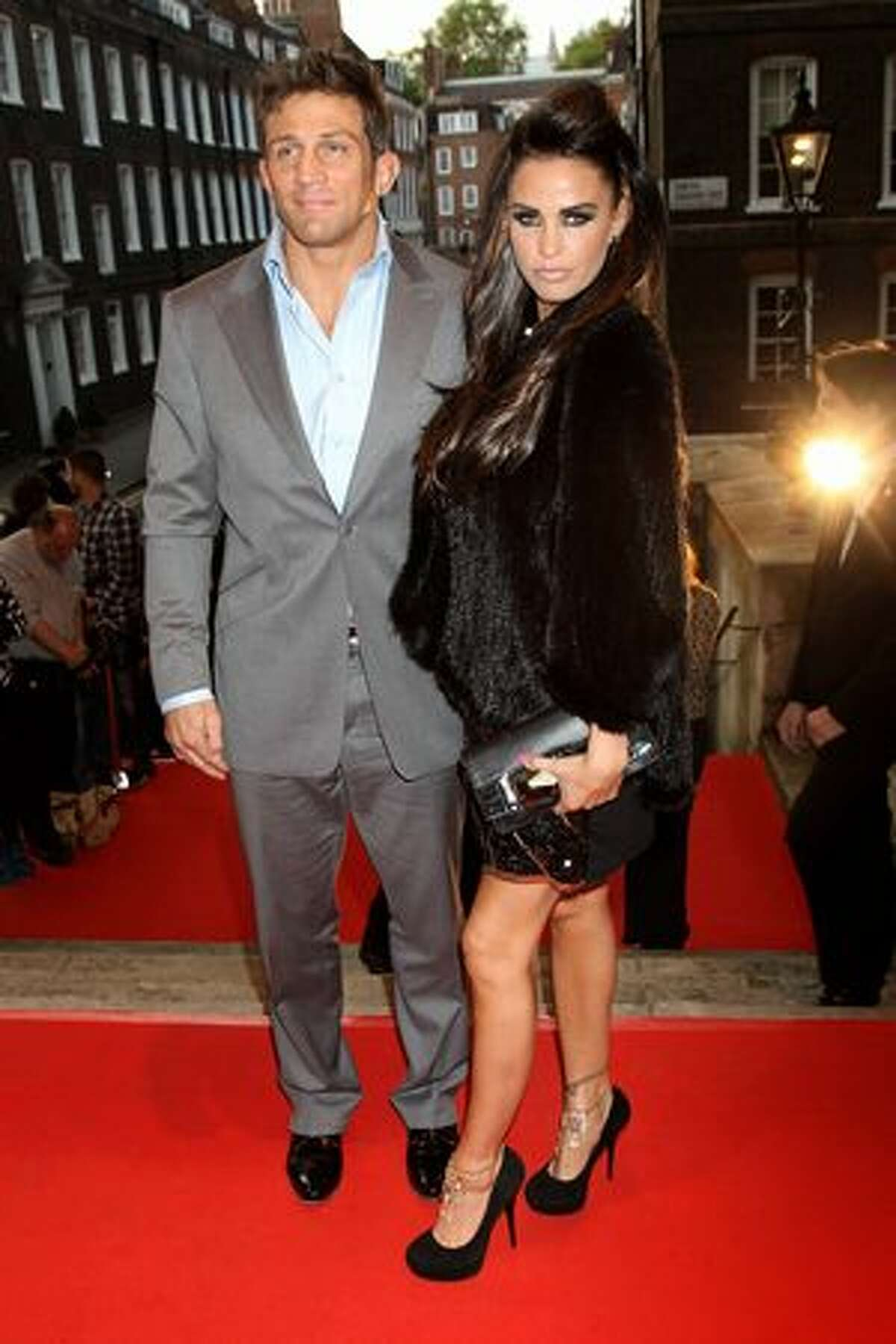 Alex Reid and Katie Price arrive at the Keep A Child Alive Black Ball held at St John's, Smith Square on Thursday, May 27 in London, England.