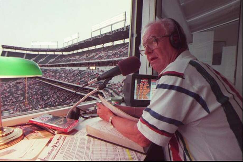 Mariner play-by-play man Dave Niehaus at The Ballpark in Arlington, Texas, 1995. (Mike Urban/seattlepi.com file) Photo: P-I File