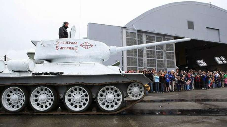 A Soviet T-34 tank is driven at the Flying Heritage Collection. Photo: Joshua Trujillo, Seattlepi.com