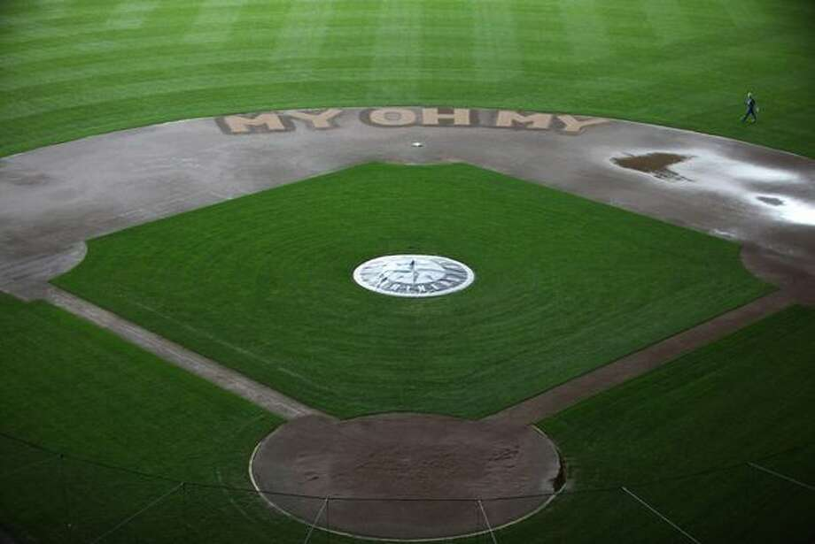 The infield of Safeco Field features Dave Niehaus' signature saying on Thursday, November 11, 2010 in Seattle. The longtime Mariner broadcaster died of a heart attack on Wednesday. (Joshua Trujillo, Seattlepi.com) Photo: P-I File