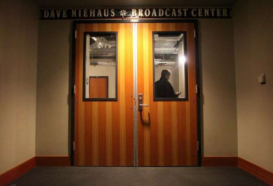 Doors leading to the booth of Mariners broadcaster Dave Niehaus are shown on Wednesday, November 10, 2010 after the team confirmed the death of the longtime voice of the Mariners. (Joshua Trujillo, Seattlepi.com). Photo: P-I File