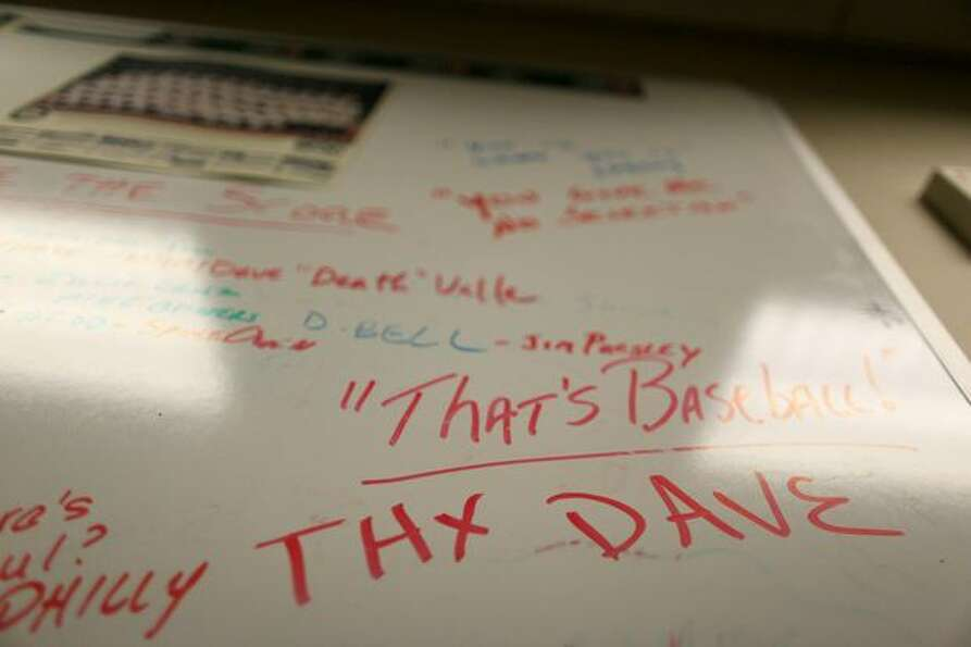 A white board inside the booth of Mariners broadcaster Dave Niehaus shown on Wednesday, November 10,