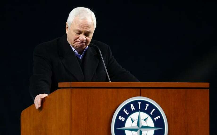 Mariners President Chuck Armstrong points skyward during a celebration of life ceremony for Seattle Mariners broadcaster Dave Niehaus on Saturday, December 11, 2010 at Safeco Field. The longtime voice of the Mariners passed away last month. (Joshua Trujillo, Seattlepi.com) Photo: P-I File