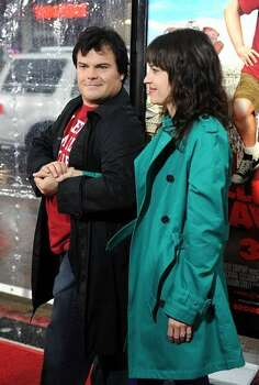 Actor Jack Black arrives with his wife, actress Tanya Haden,. Photo: Getty Images