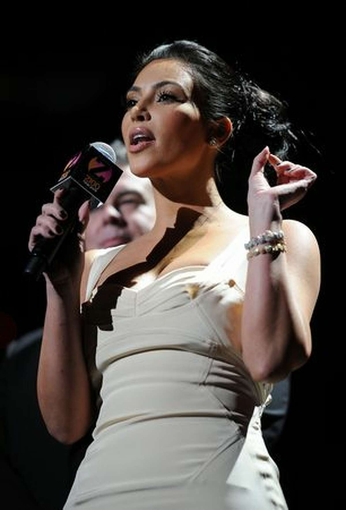 Kim Kardashian speaks onstage during Z100's Jingle Ball 2010 at Madison Square Garden in New York on Friday, Dec. 10, 2010.