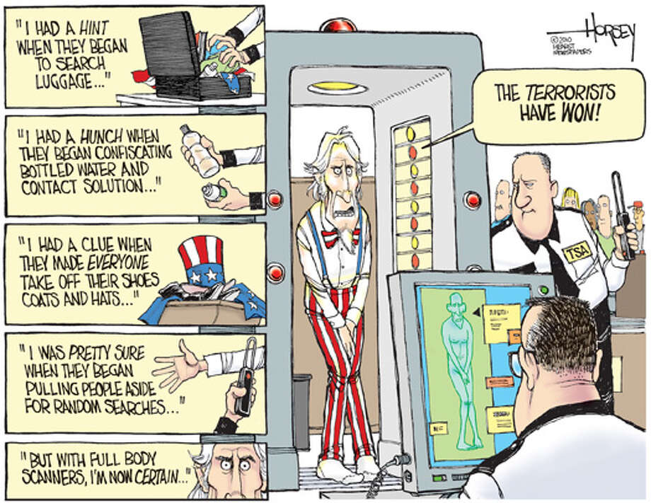 Body scanners at the airport Photo: David Horsey, Seattle Post-Intelligencer