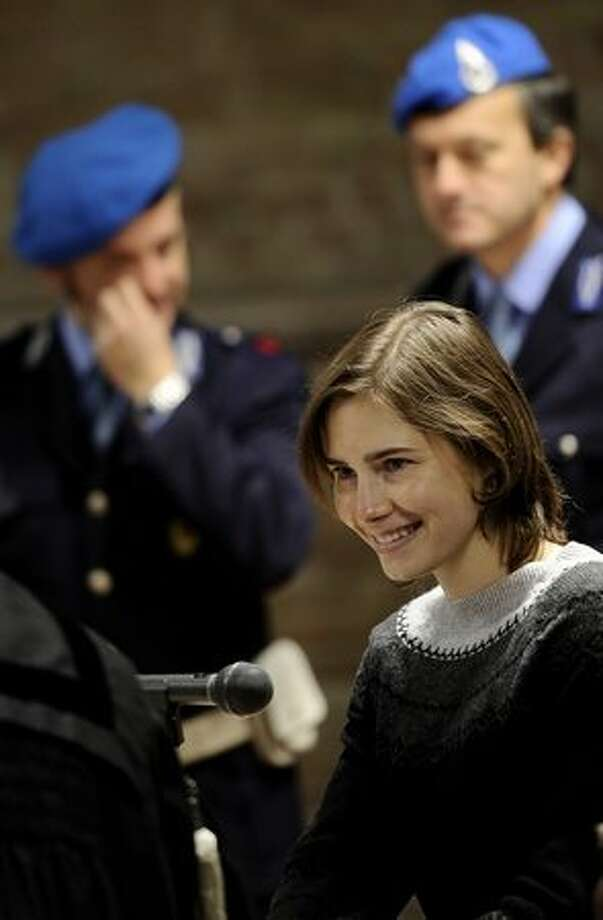 Amanda Knox takes her place prior the second hearing of her appeal trial. Photo: Getty Images