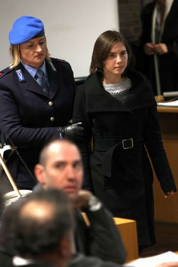 Amanda Knox returns after a break in court proceedings. Photo: Getty Images