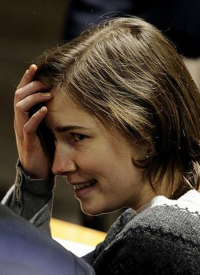 Amanda Knox takes her place prior to the hearing. Photo: Getty Images