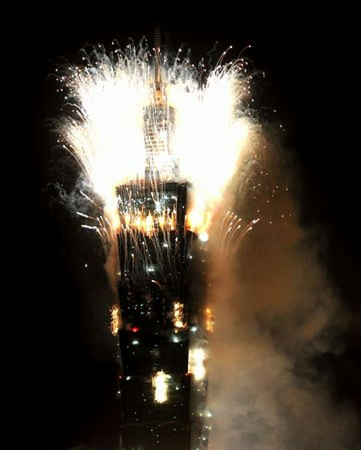 Fireworks are seen above Taiwan's tallest building, Taipei 101, on January 1, 2011 marking the New Year.