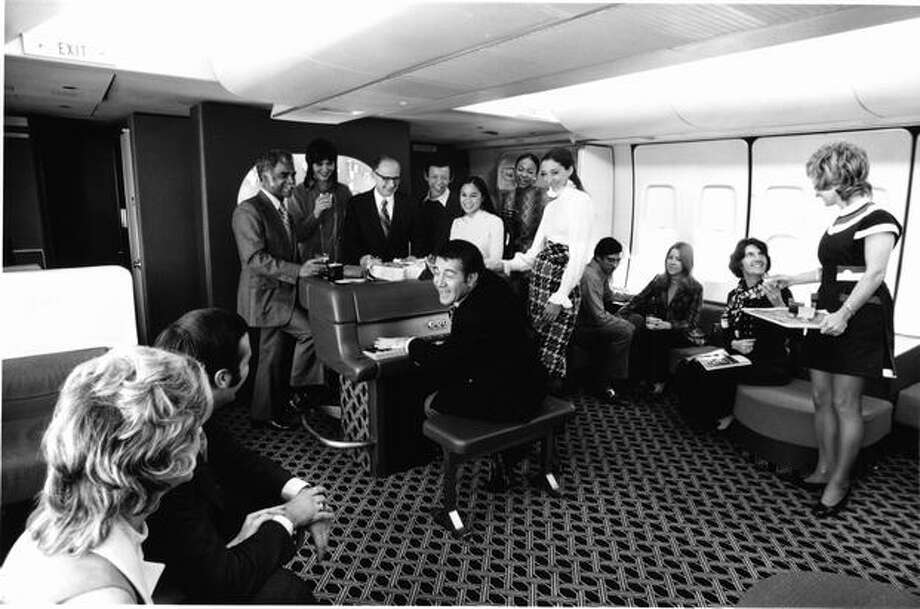 An American Airlines 747 lounge is shown in the 1970s. American got its first 747 on June 18, 1970. Photo: Museum Of Flight