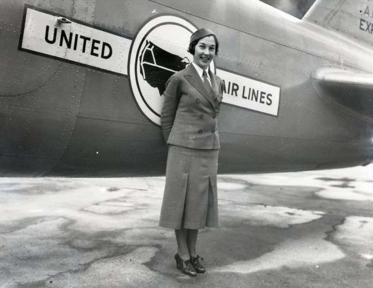 An early United Air Lines stewardess.