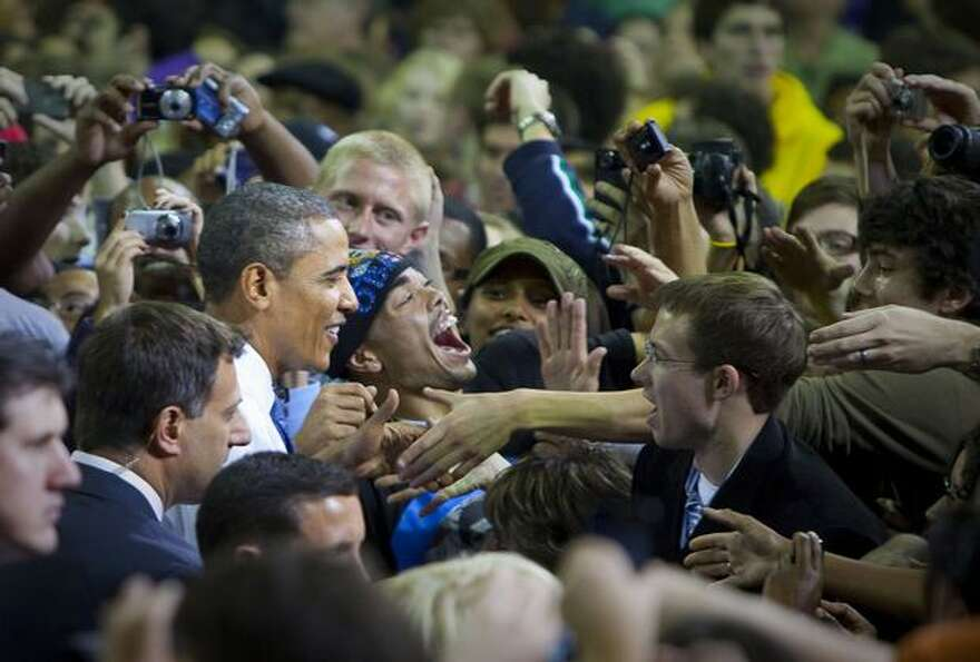 President Barrack Obama campaigns for Senator Patty Murray at the University of Washington. Murray d
