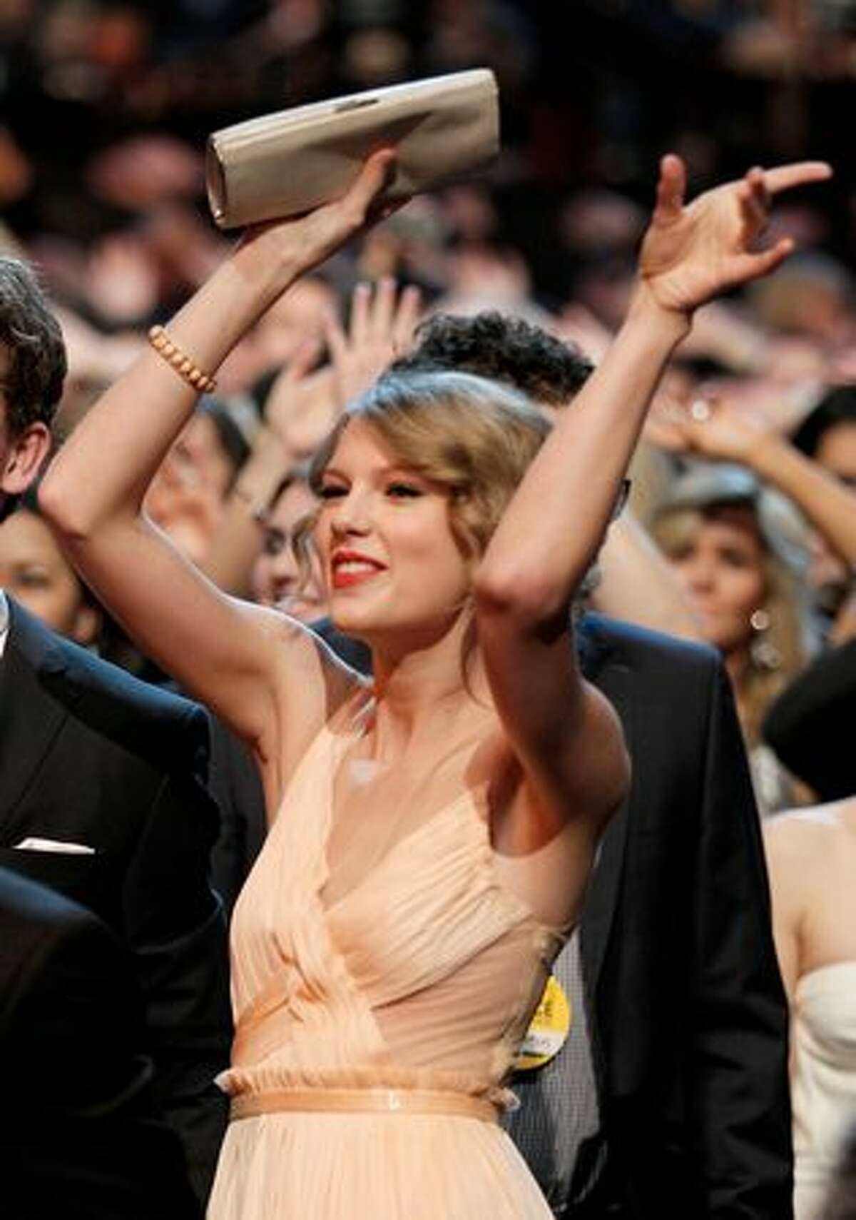 Singer Taylor Swift is seen in the auditorium.